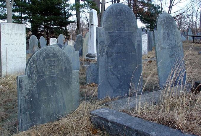 Webster - Row of headstones for Samuel (1761-1815), his wife Mary (1764-1818) and their son Charles (1787-1818)