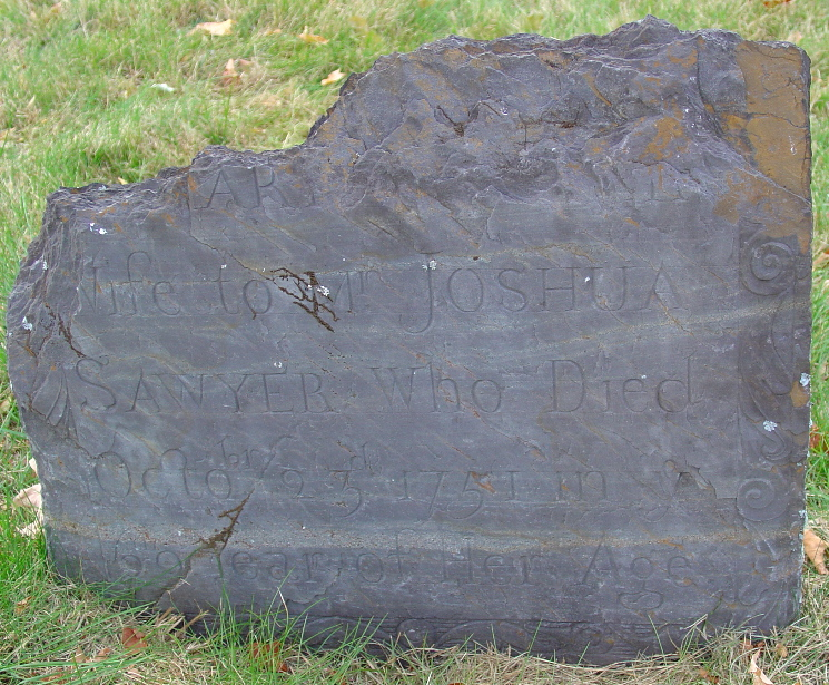 Sawyer, Mary Carter (5 Oct 1683-23 Oct 1751) [Headstone photo]