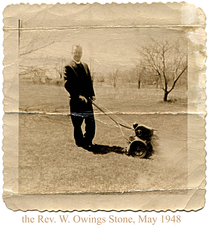 Stone, Rev. W. Owings and his new lawnmower