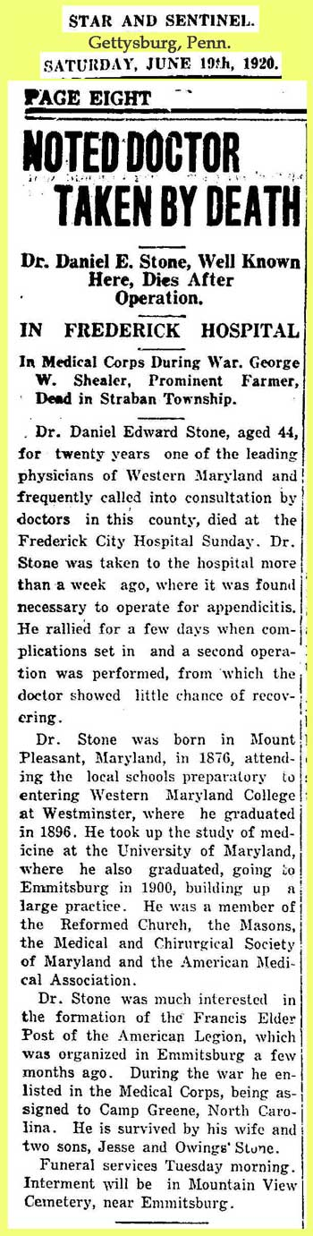 Stone: 1920 News clipping